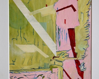 Lost in Pink Como, a  contemporary semi abstract Italian landscape painting