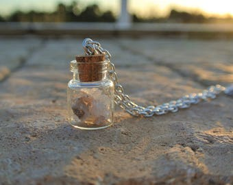Purple & Clear Quartz Crystals In A Bottle Necklace