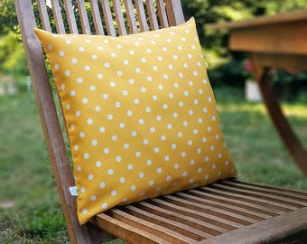 """Yellow White Polka DOTS Decorative Pillow Cover - Nautical, Cushion case, Home, 16"""" x16"""" living room, Spring Summer Home Decor, Christmas"""