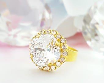 Big Crystal Ring, Cushion Cut Ring, Big Statement Ring, Swarovski Crystal Ring, Square Ring, Diamond Ring, Sparkly Ring, Birthstone, R3017