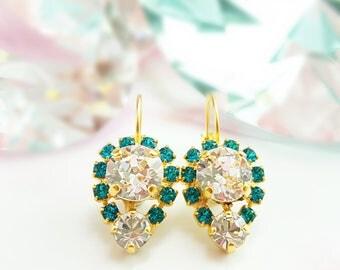 Blue Zircon Earrings - Swarovski Crystal Earrings - Diamond Cluster Earrings - Teardrop Crystal Earrings - December Birthstone Jewelry E3362