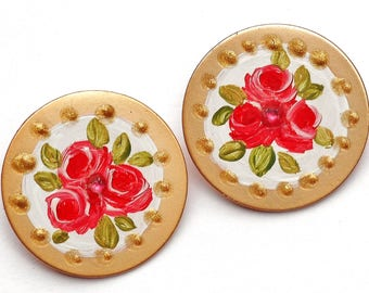 Rose Button Post Earrings Painted Flower Victorian Jewelry FREE SHIPPING