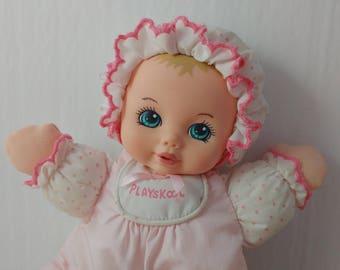 1990s Playskool My Soft Baby Doll Vinyl & Nylon Soft Toy Doll 1990s Toys (Broken Squeaker)