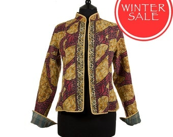 WINTER SALE - Small size - Short Kantha Jacket - Red and ochre. Reverse teal and grey
