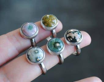 MADE TO ORDER: Ocean Jasper Ring, Ocean Jasper Stacking Ring, Sterling Silver Ocean Jasper Jewerly