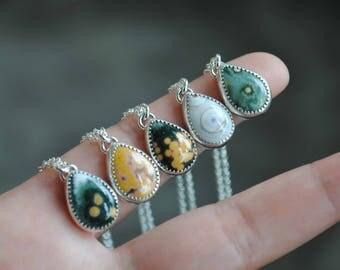 Sterling Silver Drop Ocean Jasper Necklace, Ocean Jasper Pendant Jewelry