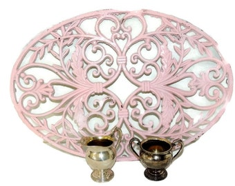 Antique Shabby Pink Painted Cast Iron Trivet GIGANTIC 22 inch