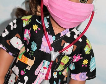 18 Inch Doll (Like American Girl) Black and Pink Dog Print Hospital Scrubs with Stethoscope (5 piece set)