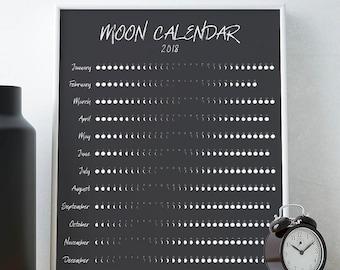 Moon calendar 2018 | Etsy