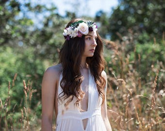 SALE Ivory and Purple Wedding Flower Hair Crown, with Ivory Rose and Delphiniums, Succulents, Purple Orchids, Larkspur, and Blackberries