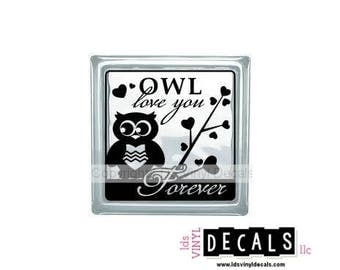 OWL love you Forever - Valentine's Day Vinyl Lettering for Glass Blocks - Wedding Craft Decals