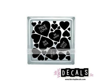 Conversation Hearts - Valentine's Day Vinyl Lettering for Glass Blocks - Love Craft Decals