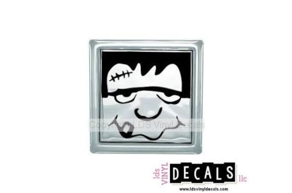 Frankenstein Halloween Vinyl Lettering For Glass Blocks - Halloween vinyl decals for glass blocks