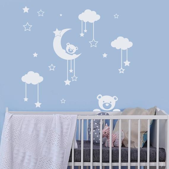 Ours en peluche murale sticker stickers nuage lune et - Stickers chambre bebe nuage ...