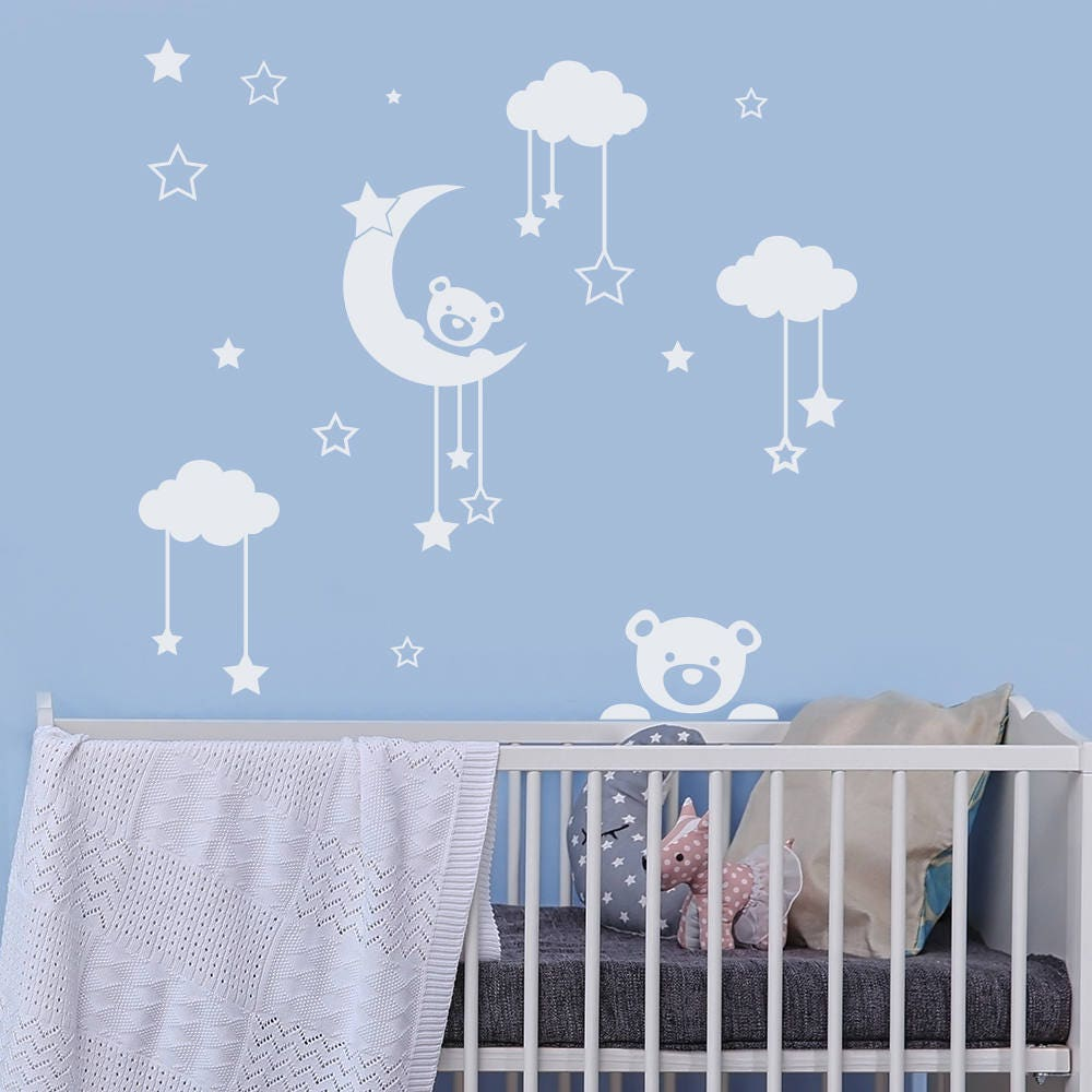 ours en peluche murale sticker stickers nuage lune et. Black Bedroom Furniture Sets. Home Design Ideas