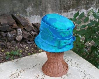 Vintage Royal Blue Satin Damask Brocade Cloche Hat