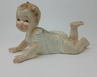 Antique German Piano Baby Bisque Porcelain Victorian Baby Figurine