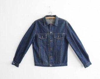 Vintage Denim Jacket - 1970s - Made in France - Dark Wash