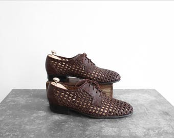 Vintage braided Shoes - derby/Oxford - Brown leather - Women US 7 - UK 5 - EU 38