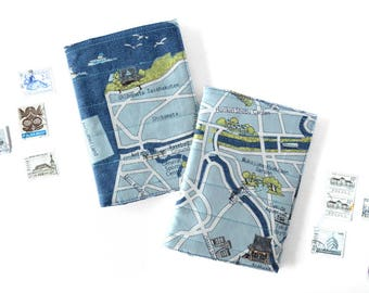 Tokyo Map Fabric Travel Cover, Blue Passport Holder, Passport Cover for Him, Map Passport Case, Mens Travel Sleeve, Small Gift for Traveler