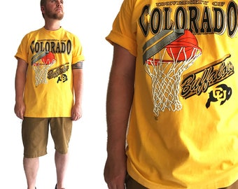 Vintage CU Buffs Tee Shirt - University of Colorado - Buffaloes - Boulder - 90s - Basketball - Tshirt - Mens XL Extra Large - Sports