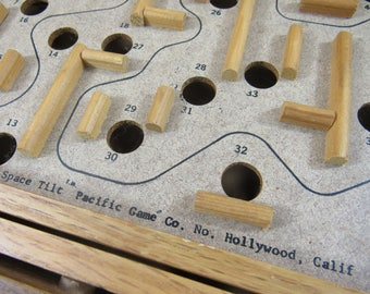 Vintage Wooden Space Tilt Marble Game Labrinyth Marble Maze Game Old Fashioned Board Games Christmas Gift Idea