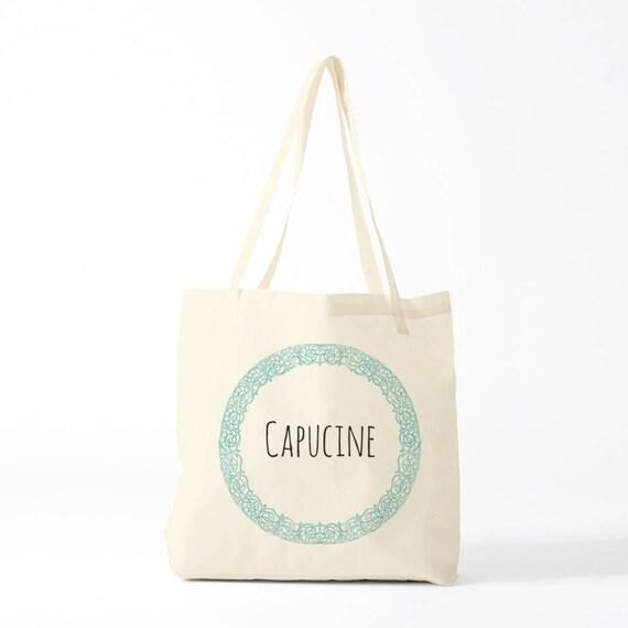 Tote bag Flowers wreath name, custom tote bag, name gift, groceries bag, canvas bag, laptop bag, novelty gift, tote coworker, shopper tote.