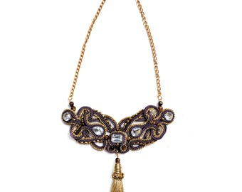 Soutache necklace - Soutache jewelry - Purple and golden - Glamour jewelry - Chunky necklace - Big bold - Fashion jewelry - Elegant necklace