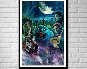 3 SIZES Pet Sematary art poster print scary graveyard cat horror movies Stephen King by artist Scott Jackson