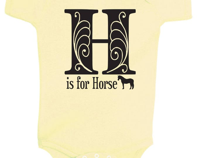 Featured listing image: H is for Horse One Piece Bodysuit - Multiple Colors