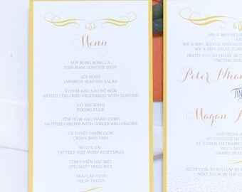4x8 Brightly Colored Orange and Yellow Confetti Polka Dots Printed Wedding Menu