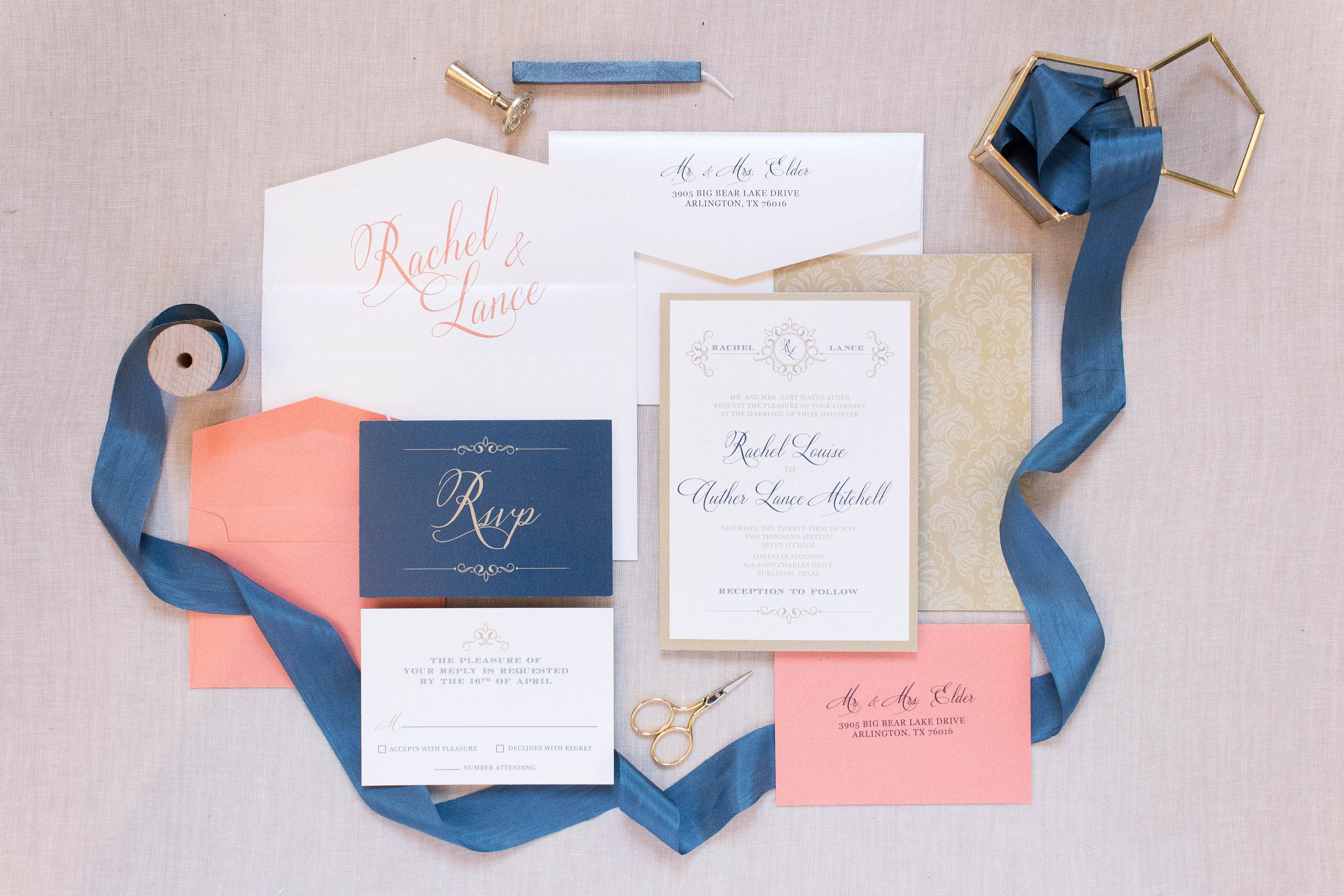 5x7 Gold White Coral U0026 Navy Wedding Invitation Suite With Details Insert,  RSVP And Envelope Liner U2014 Different Colors Available!
