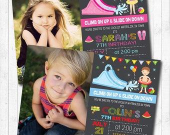 Water Slide Birthday Invitation, Water slide Invite, Pool Invitation, Pool Party, Photo Invitation, Water slide party, Printable