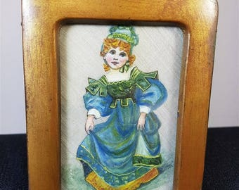Antique Miniature Oil Painting on Silk Little Girl Portrait in Gold Metal Frame