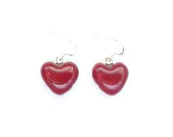 Red heart earrings on sterling silver/Fused glass earrings