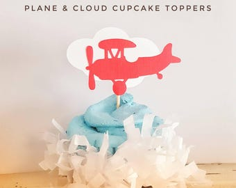 Airplane Cupcake Toppers and cloud! Baby Shower, Birthday Party! Red Plane Up up away party!