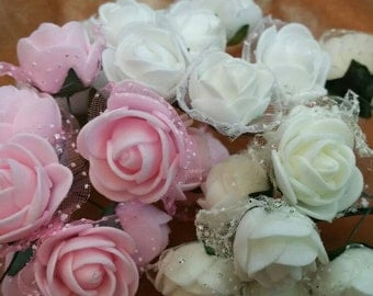 """Foam Roses 1 bunch (12 in a set). CHOOSE  pink cream or white.  Foam roses. Approximately bud size 3/4"""" to  1"""" head. Each is on a wire."""