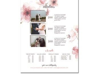 Sell Sheet - Collections  or Packages Pricing Template - Photography Marketing, 8.5 x 11 size, Newborns, Seniors, Families, Wedding
