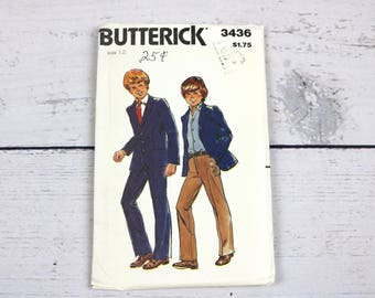 Butterick 3436 Boys Size 12 Jacket & Pants Sewing Pattern-70s Style