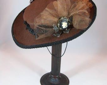 Steampunk Fascinator, Victorian Fascinator, Steampunk hat, Brown steampunk hat,Brown boater hat,Boater hat,Grey Ghost Toppers,Victorian hat,