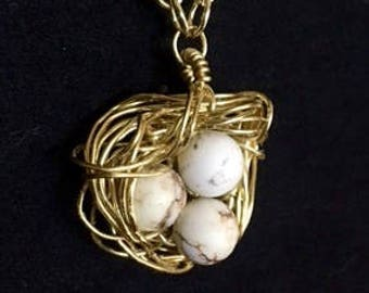 Bird Nest Pendant & Chain - Golden