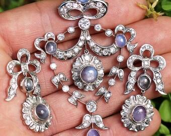 Vintage Star Sapphire Pendant Earring Set with Diamonds in Platinum 12.75ctw