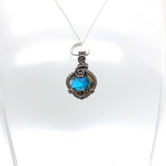 Blue Flash Labradorite Pendant Necklace | Antiqued Sterling Silver Wire Wrap Necklace | Rose Cut Gemstone | Labradorite Necklace for Woman