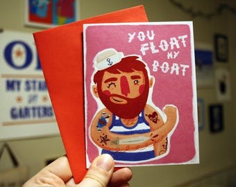 You Float My Boat Queer Sailor Valentine Greeting Card