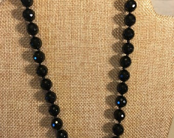 Onyx beaded necklace knotted
