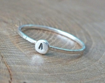 Silver Initial Ring, Tiny Sterling Silver Ring, Custom Jewelry, Silver Stacking Ring