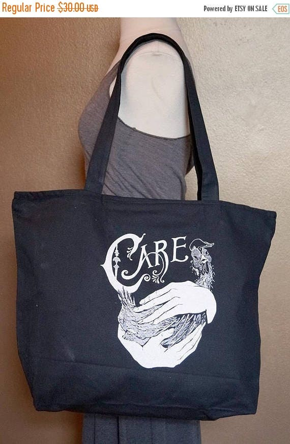 """ON SALE Zippered Tote Bag """"Care"""" White Ink on Black Cotton"""