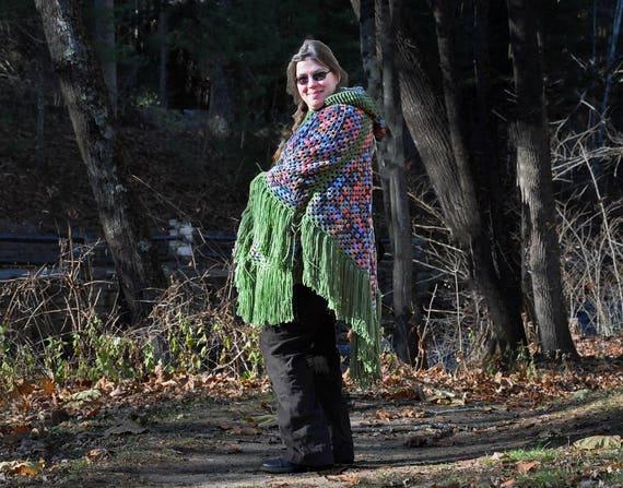 Women's Poncho, Retro-Style, Hooded Poncho, Hippie, Boho Chic, Fringed Poncho,  Large Poncho, Crochet Poncho, Women's Outerwear