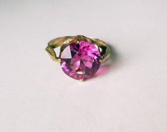 Art Deco Retro hot pink French paste vermeil ring 1940s Hollywood size 7.75