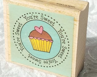 You're Sweet Cupcake Rubber STamp Cupcake stamp Studio G Wood Mounted Birthday Card Making Sentiment Phrase Craft journal sweet stamp